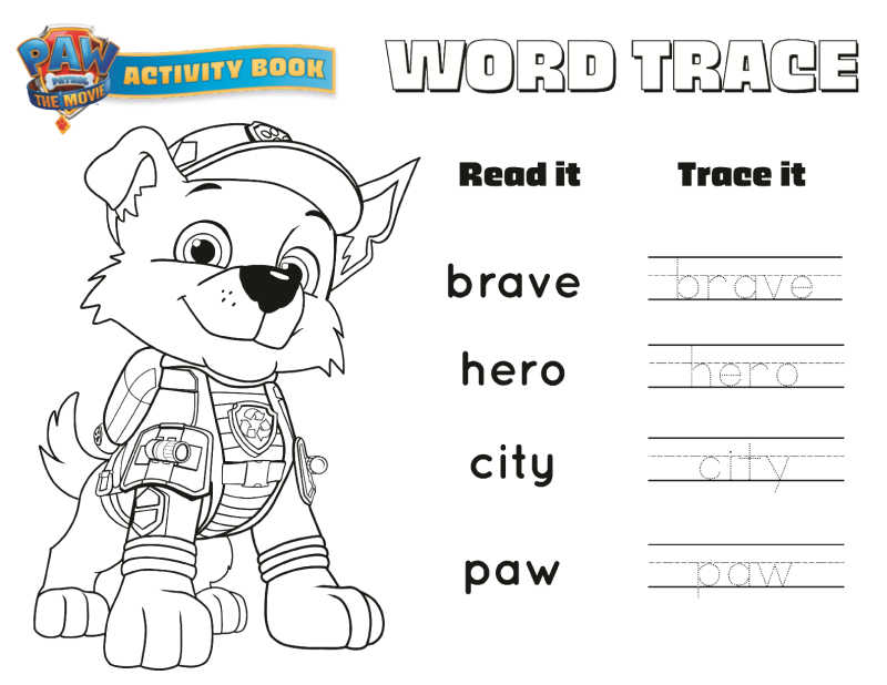 paw patrol word trace