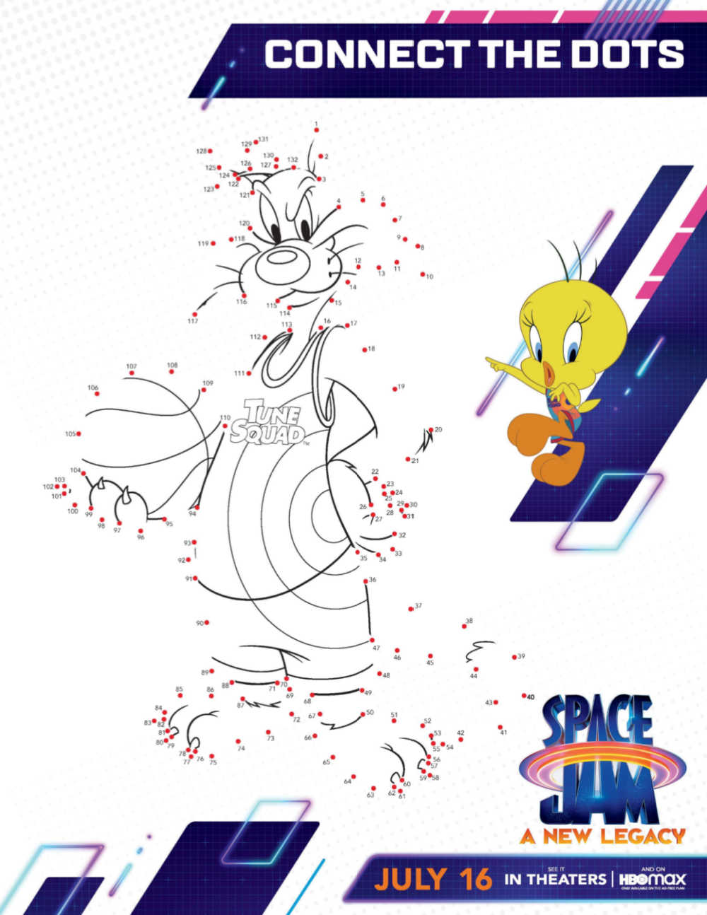printable space jam connect the dots