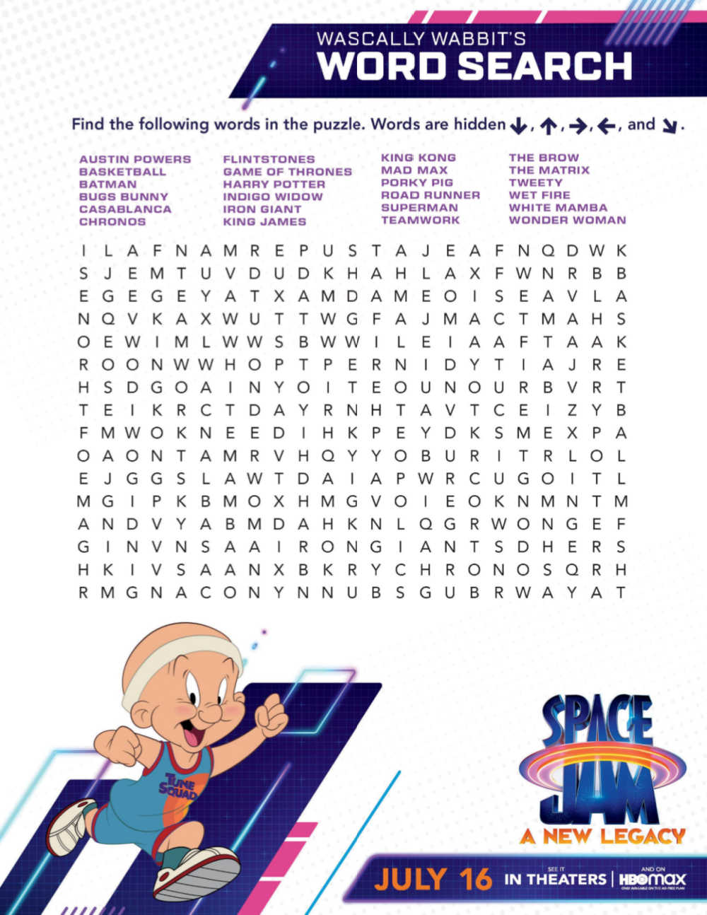 printable space jam word search
