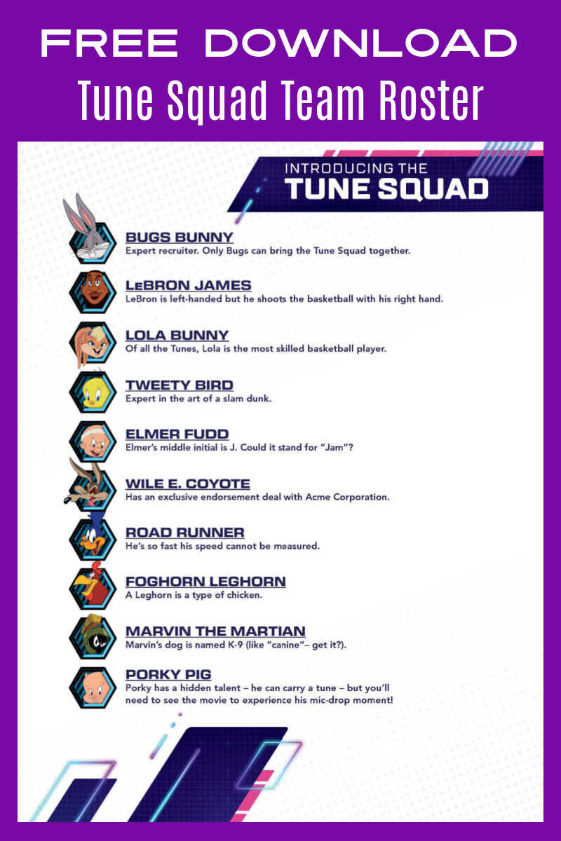 Every basketball team needs a a list of the players, so fans will want to download this free printable Space Jam Tune Squad roster.#ad