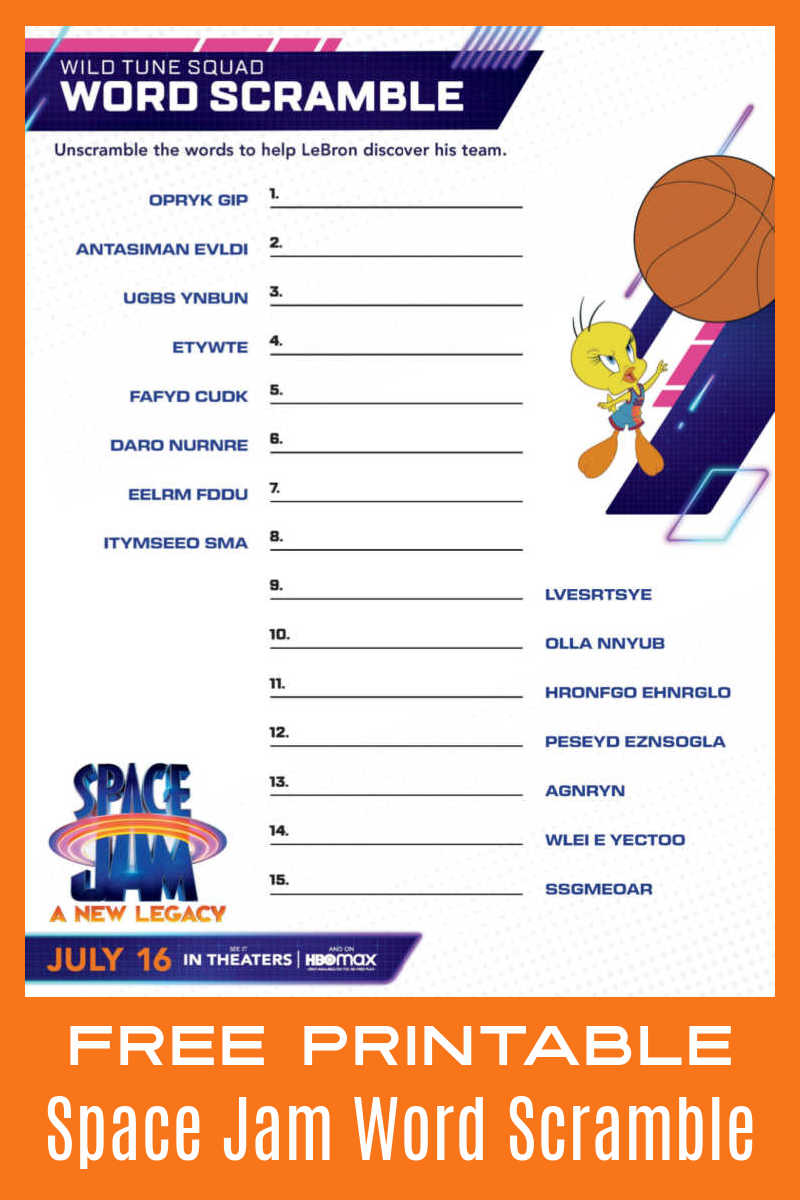 Unscramble the words in this Space Jam word scramble, so you can help LeBron find his Tune Squad teammates.#ad