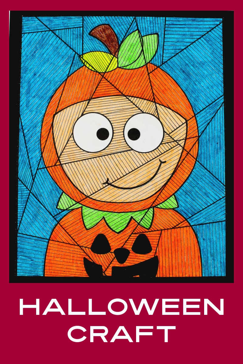Your kid will enjoy making this pumpkin child craft, which uses lines to turn a regular coloring page into a unique piece of art.