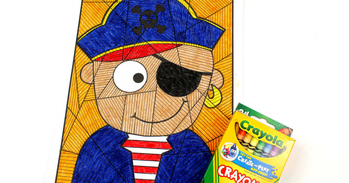 crayons and pirate coloring page