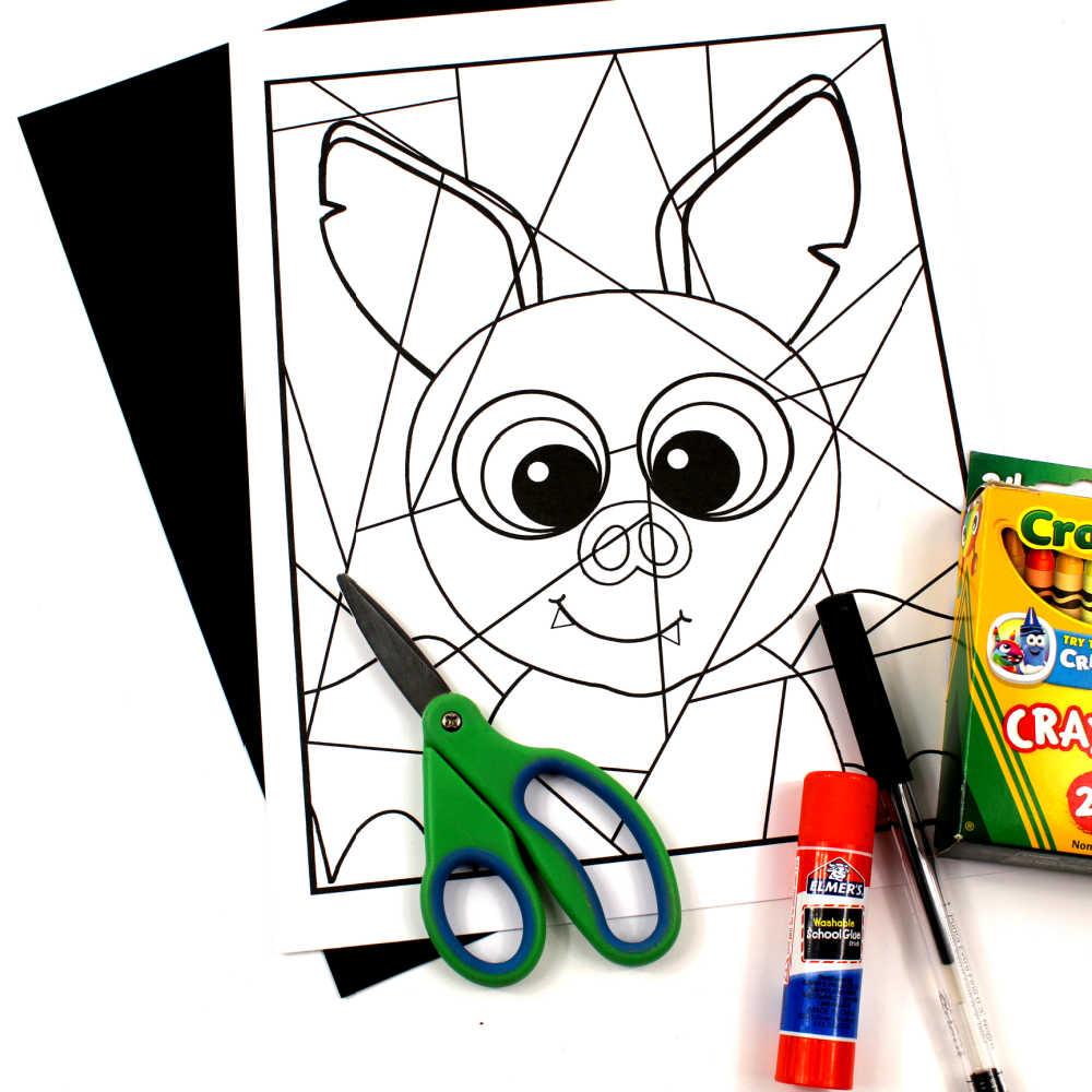 supplies for bat coloring craft