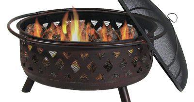 feature backyard wood burning fire pit
