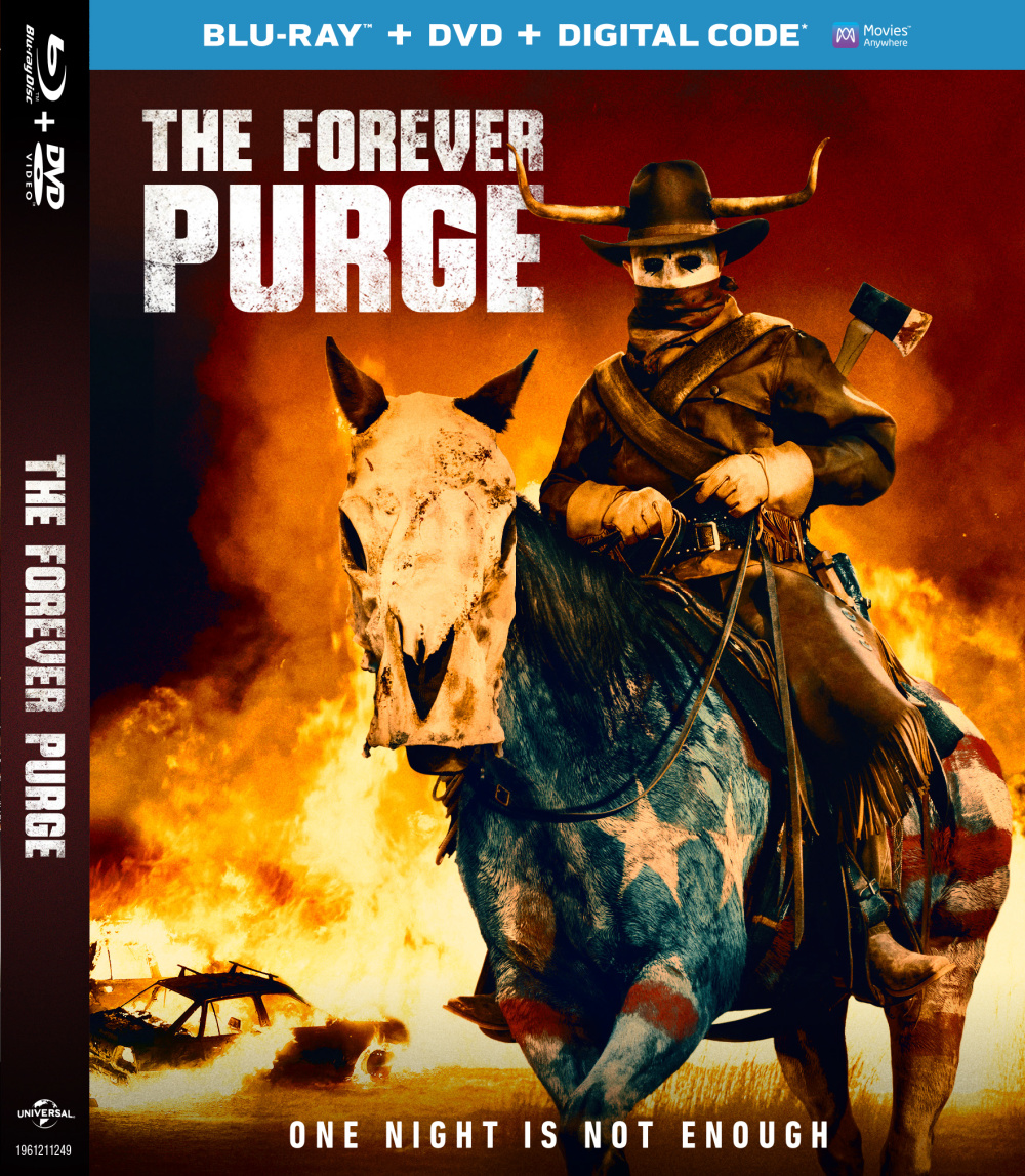 """Dystopian horror fans will want to add The Forever Purge blu-ray to their collection, since """"one night is not enough."""""""