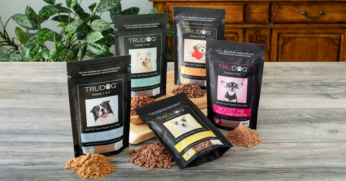 assorted trudog raw freeze-dried dog food toppers